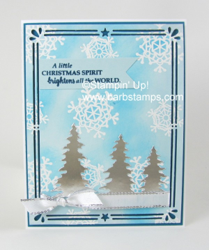 Glossy White Cardstock is the bomb!  There are so many cool techniques you can do with it.  Here is one and you can find the details on my blog www.barbstamps.com #carolsofchristmas #stampinup