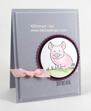 Adorable card using the This Little Piggy stamp set along with the Layering Circles Framelits, Powder Pink Ribbon and the Polka Dot Embossing Folder. Get all the deets on my blog at www.barbstamps.com #thislittlepiggy #stampinup