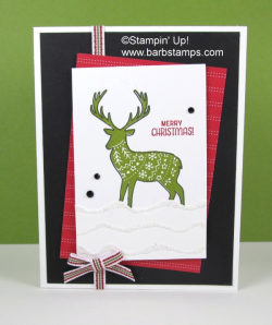 Video on my blog for this card using the Merry Patterns Host Only set.  Earn this set during Sept and Oct of 2017 www.barbstamps.com #merrypatterns #stampinup #barbstamps
