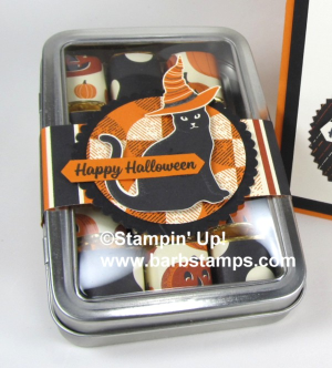 Spooky Cat Bundle paired with the Spooky Night Designer Series Paper is a winner!!  I have more details about these cards and Hershery's Nugget Treat on my blog. www.barbstamps.com #spookycat #stampinup #barbstamps #spookynight