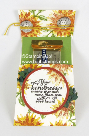 Sliding gift card, treat, tea bag or cash holder.  VIDEO on my blog www.barbstamps.com Project uses the Painted Harvest stamp set and the Stampin' Trimmer