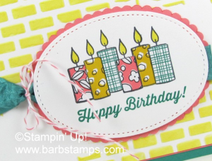 Super cuite birthday card using the Merry Patterns stamp set and our Embossing Paste. Did you know that you can color the paste?  www.barbstamps.com  #embossingpaste #stampinup #merrypatterns