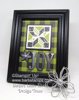 Framed Art using the Christmas Quilt Bundle. You can find more pictures and a printable file complete with a supply list and instructions can be found on my blog at www.barbstamps.com