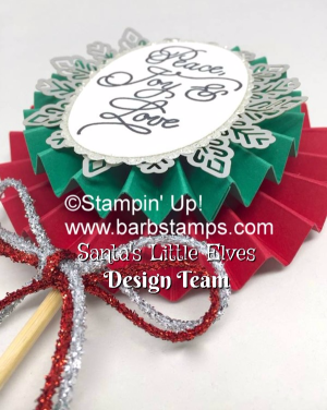 Video on my blog on making lollies with DSP as part of the Santa's Little Elves collaboration.  www.barbstamps.com #stampinup #lollies #barbstamps.com