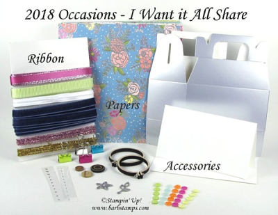 I Want it All 2018 Occasions Share www.barbstamps.com FREE Sale-a-bration DSP!