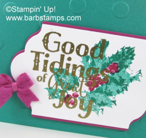 Gorgeous card using the Good Tidings stamp set, Polka Dot Embossing Folder and Bitty Bows. Details on my blog www.barbstamps.com #stampinup #barbstamps #goodtidings