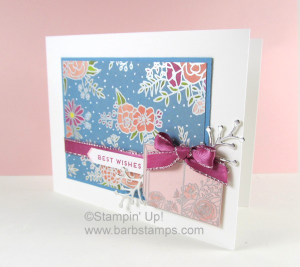 Video on my blog showing you how to create this stunning wedding card using the Sweet Soiree Suite from Stampin' Up! www.barbstamps.com #stampinup #cakesoiree #sweetsoiree #barbstamps