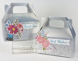 VIDEO on my blog showing you how to emboss these super cute mini silver gable boxes wth the Petal Pair Embossing Folders www.barbstamps.com #stampinp #barbstamps #embossing #petalpair