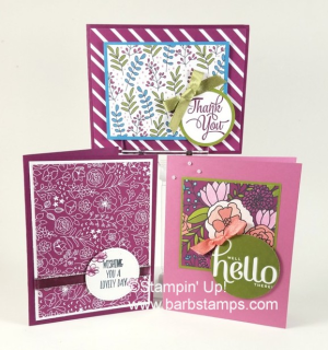 Multiple cards from the Sweet Soiree Memories & More Card Pack.  This pack is a FREE Sale-a-bration item that you can earn free with a $50 order through March 31st.  www.barbstamps.com