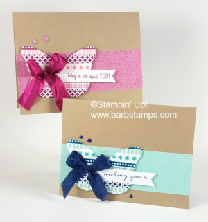 VIDEO for these Washi Tape Butterfly Cards on my blog www.barbstamps.com I used the Washi Basics Pack 1 and 3 for this project along with the Bold Butterflfy Thinlits.  #butterfly #washitape #stampinup #crinkledseambinding