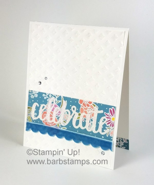 Fun card and 3D item for the OSAT Blog Hop.  The card had Shimmery White Embossing Paste and Glimmer Paper, check them out on my blog www.barbstamps.com #stampinup #sweetsoiree #minigableboxes