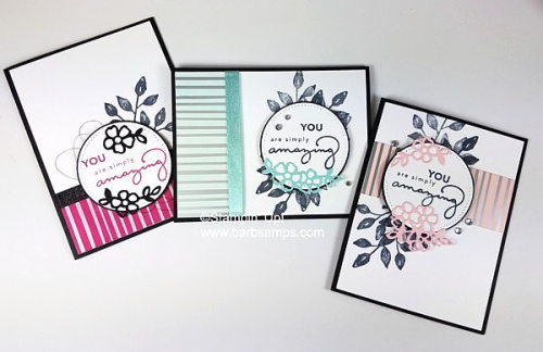 Video for this card on my blog, uses the Springtime Foils DSP and Sponge Brayers www.barbstamps.com #stampinup #salebration #springtimefoils