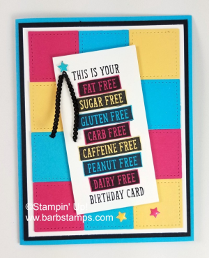 VIDEO on my blog for this fun grid card.  I used the Stitched Shapes Framelits and the Birthday Wit stamp set. Lots of pics www.barbstamps.com #birthdaywit #stampinup #barbstamps #stitchedshapes
