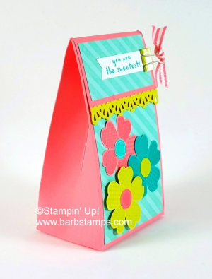 Video on my blog for this 2-5-7-10 Box www.barbstamps.com Super cute box using the Flower Shop stamp set, decorative ribbon punch and the Diagonal Stripe background stamp. #stampinup, #barbstamps #flowershop #25710box
