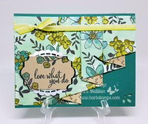 VIDEO on my blog showing you how to create this Drapery Fold or Curtain Fold. I used the Share WhatYou Love Specialty Designer Series Paper that will be available in a bundle starting May 1st. Go to www.barbstamps.com to view the video. #stampinup #sharewhatyoulove #draperyfold #curtainfold #barbstamps