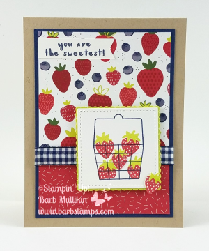 VIDEO for this card giving you tips and tricks for using the basket in the Fruit Basket Bundle! www.barbstamps.com #stampinup #fruitbasket #tuttifrutti #barbstamps