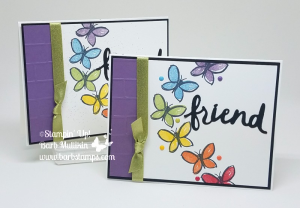 Garden in Blooom raiinbow butterflies, this stamp set was featrured in my April 11 Facebook Live Show, you canget all the details on my blog. www.barbstamps.com  #stampinup #barbstamps #gardeninbloom #2018retiringlistm rainbow butterfly both