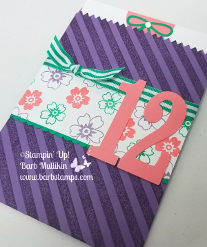 VIDEO turorial for this Mini Treat Bag Birthday Bag www.barbstamps.com Project uses the Mini Treat Bag Thinlits, Large Number Framelits, bloomin' Love stamp set and the Diagonal Stripe background stamp. #stampinup #barbstamps #minitreatbagthinlit