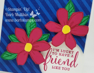 Diagonal stripe background stamp along with the Garden in Bloom and Love What You Do stamp sets.  Fun way to use the circle punch creating an area for the sentiment. www.barbstamps.com  #stampinup #barbstamps
