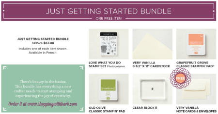 Order the Just Getting Started Bundle from me and I will gift you with a tutorial for 30 cards! Get yours at www.shoppingwithbarb.com #stampinup #barbstamps #sharewhatyoulove