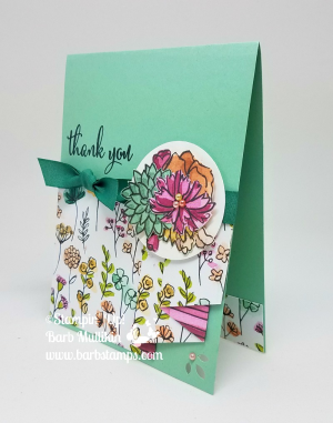 Vertical orientation Drapery Fold Card, I have a video on my blog for this incredibly easy card.  www.barbstamps.com  Get a 30 card tutorial for the Share What You Love Bundle when you purchase the Gotta have it All Bundle from me. #stampinup #barbstamps, #sharewhatyoulove