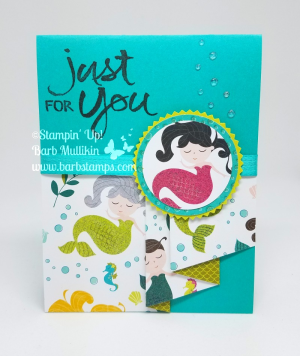 Drapery fold card, super easy but packs a wow! Video on my blog www.barbstamps.com #sstampinup #draperycard #barbstamps