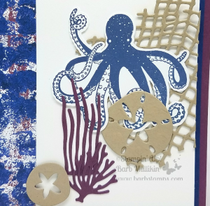 Fun card created with the Sea of Textures Bundle and the Tranquil Textures DSP. Deets and pics on my blog www,barbstanps.com #stampinup #barbstamps #seaofttextures