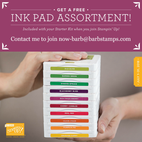 FREE set of ink pads when fyou join my team in July. www.barbstamps.com
