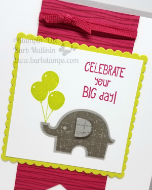 Super cute card and coordinating Lustrous White Gable gift box on my blog today, lots more pictures, see them all at www.barbstamps.com #littleelephant #stampinup #osatbloghop #onestampatatime