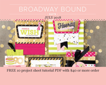 Free 11 project tutorial with the Broadway Bound Suite with a $40 order placed in my store in July www.shoppingwithbarb.com