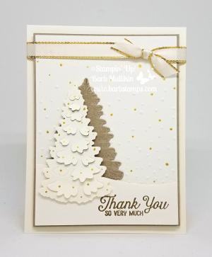 VIDEO on my blog for this beautiful card. www.barbstamps.com I used the Winter woods stamp set and our Vegas Gold Shimmer Paint #winterwoods #creativeinkingbloghop #stampinup #barbstamps #thankyou #christmas