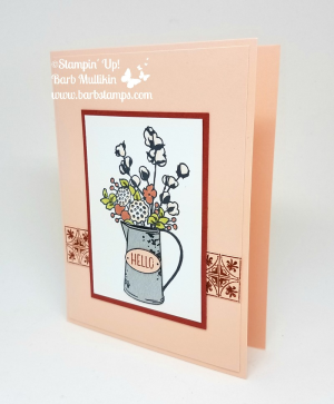 Loving the Petal Pink and Cajun Craze combination, more pics on my blog www.barbstamps.com #countryhome #stampinup #galvanized #barbstamps