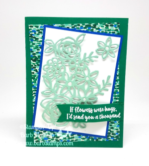 I trimmed the large floral die cut from the Springtime Impressions Thinlit set, cutting guide on my blog www.barbstampa.com #stampinup #barbstamps buy 3 get 1 free DSP sale