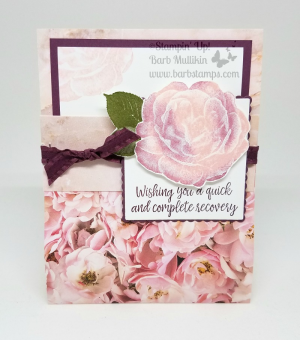 Pocket Card I made during my Facebook Live show. Card uses the Petal Promenade DSP part of the buy 3 get 1 free promo in July www.barbstamps.com #stampinup #barbstamps #petalpromenade #buy3get1free