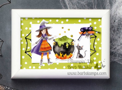 Cauldron Framelits will crop out images from the Tiol & Trouble DSP www.barbstamps.com #cauldronbubble #stamipinup #spookybatspunch
