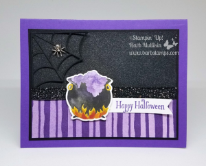 Create a fun shimmery background using the Frost White Shimmer Paint and some Rubbing Alcohol in a Stampin' Spritzer. More details on my blog www.barbstamps.com #stampinup #shimmerpaint #frostwhite #halloween #frightnight