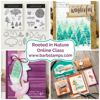 Rooted in Nature Online Class, 9 cards with directions and videos for each one, details on my blog www.barstamps.com #rootedinnature #stampinup #fallcards #leafcards #naturesroots