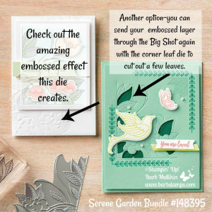 Check out the super cool embossing die in the Serene Garden Bundle, you can find projects on my blog www.barbstamps.com #stampinup #barbstamps #serenegarden