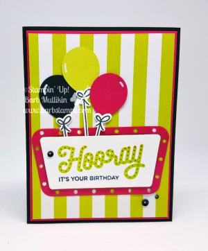 VIDEO for this fun card that uses the Stamparatus along with the Broadway Birthday Bundle.  Great tip for the Stamparatus and die cuts. Visit my blog www.barbstamps.com and shop with me at www.shoppingwithbarb.com  Check out my Abstract Impressions Online Class while you are on my blog. #stampinup #stamparatus #barbstamps #broadwaybirthday