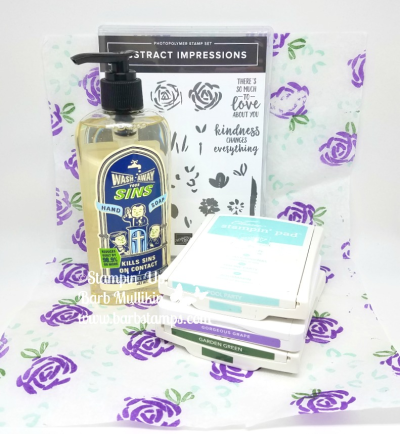 Stamped tissue paper using the Abstract Impressions stamp set.  Check out my Onine Calss using this stamp set nd coordinating thinlits on my blog www.barbstamps.com  #stampinup #giftpackaging #barbstamps #abstractimpressions