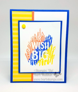 Using the 2018-2020 In Color Stampin' Emboss Powder to create multi colored glossy embossed images, fun technique video on my blog www.barbstamps.com #stampinup #embossing #20182020incolors