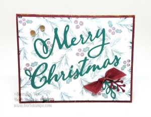 Video for this card on my blog with tips on hiding adhesive on Vellum! www.barbstamps.com #stampinup #merrychristmastoall #barbstamps #joyousnoel