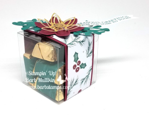 Super cute and easy treat on my blog www.barbstamps.com #stampinup #cleartreatboxes #barbstamps #christmasgift