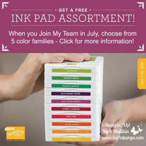 FREE set of 10 ink pads when you sign up to be a demonstrator on my team in July! More info www.barbstamps.com