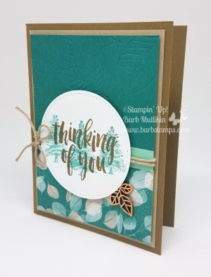 buy 3 Get 1 FREE DSP sale in July, more details and pictures of this card on my blog www.barbstamps.com #stampinup #barbstamps #rootedinnature #naturespoem #fallcards