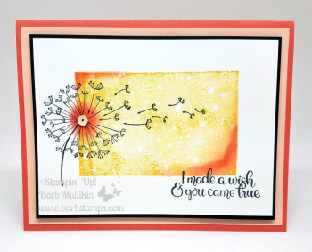 Love this card that uses the Dandelion Wishes and Bokeh Dots stamp sets. www.barbstamps.com