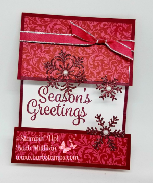 VIDEO tutorial for this Split Window Card today using the limited time Dashing Along DSP from Stampinn' Up! Also using the Joyous Noel Glimmer Paper, Blizzard Thinlits. www.barbstamps.com #stampinup #joyousnnoel #splitwindow #blizzardthinlits