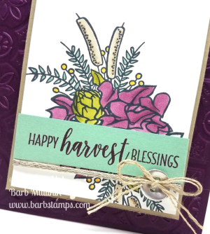 VIDEO on my blog for this gorgeous card. It uses products from the Country Lane Suite. www.barbstamps.com #stampinup #countryhome #blackberrybliss #stampinblends
