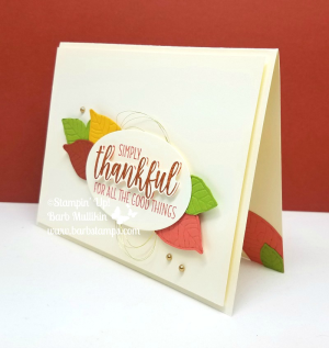 Easy fall card using the Nature's Roots Framelits and the Country Home stamp set.  Details on my blog www.barbstamps.com #fall #stampinup #embossedleaves #countryhome #naturesroots