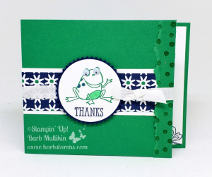 VIDEO on my blog for this fun fold card. Get the adorable frog stamp st FREE with a $50 order during Sale-a-bration #stampinup #barbstamps #sohoppytogether #papercrafting #saleabration